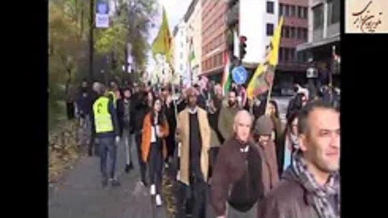 تظاهرات در دفاع از روژاوا و در محکومیت تهاجم نظامی ترکیه . استکهلم 19 اکتبر
